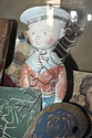 A GROUP OF OBJECTS INCLUDING A PLASTER FIGURE OF A SAILOR BOY AND HAND-PAINTED SKITTLES