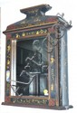 A PAIR OF CHINOISERIE MIRROR FRONTED WALL CABINETS