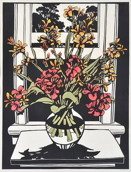 DAVID PRESTON (BORN 1948) Canna Lilies 1988 linocut 28/50