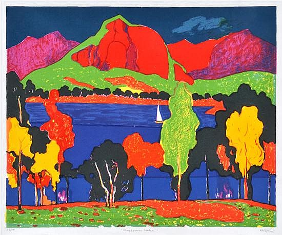 JOHN RIGBY (BORN 1922) Moogerah Lake screenprint 36/50