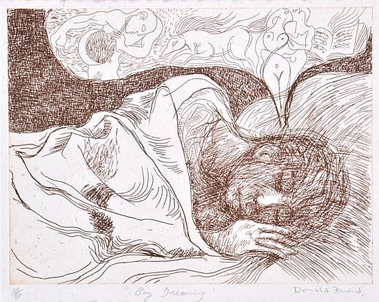 DONALD FRIEND (1915-1989) Boy Dreaming etching 25/80