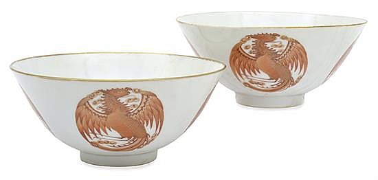 A PAIR OF CHINESE BOWLS WITH PHOENIX ROUNDELSGUANGXU MARK AND OF THE PERIOD