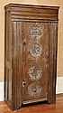 AN 18TH CENTURY DUTCH TWO DOOR SIDE CABINET WITH CARVED RONDELLES AND MONOGRAMS