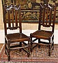 A PAIR OF 17TH CENTURY OAK HALL CHAIRS WITH SLAT BACKS