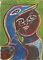 MIRKA MORA (BORN 1928) Figure with Blue Bird 1989 watercolour