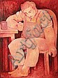 BILL COLEMAN (1922-1993) Seated Male Figure oil on canvas on board