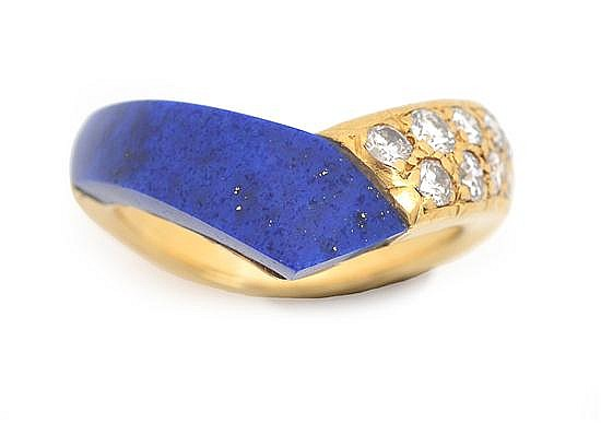 A LAPIS LAZULI AND DIAMOND RING BY VAN CLEEF & ARPELS