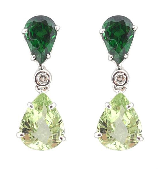 A PAIR OF TSAVORITE GARNET AND DIAMOND EARRINGS