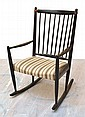 DANISH PAINTED WOODEN ROCKING CHAIR WITH UPHOLSTERED SEAT AND BACKREST