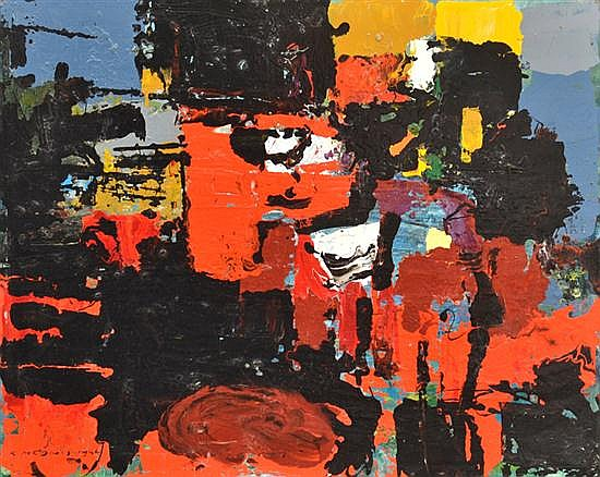 KARLIS MEDNIS (1910-1999) Abstract 1966 oil on board