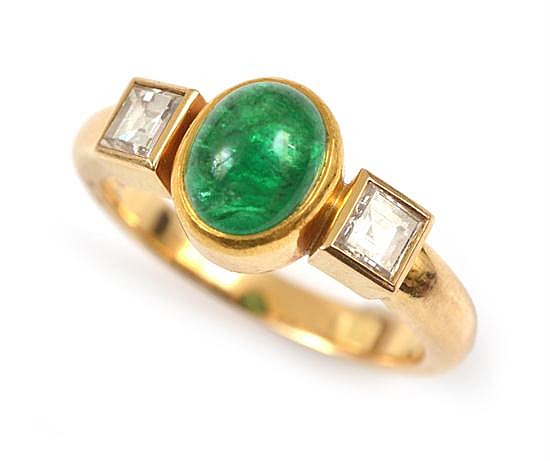 AN EMERALD AND DIAMOND RING BY GEORG JENSEN