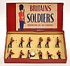 BRITAINS NO.27 INFANTRY BAND, COLOUR ILLUSTRATED LABEL TO BOX (VG-E BOX G-VG)