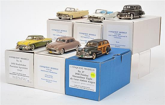 SIX CONQUEST MODELS INCLUDING NO.27 1948 PONTIAC STREAMLINER EIGHT A/F; NO.30B 1947 CADILLAC FLEETWOOD 75; NO.31 1955 STUDEBAKER PRE...