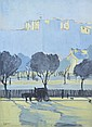 FREDERICK WILLIAM LEIST (1878-1945) Park Scene gouache