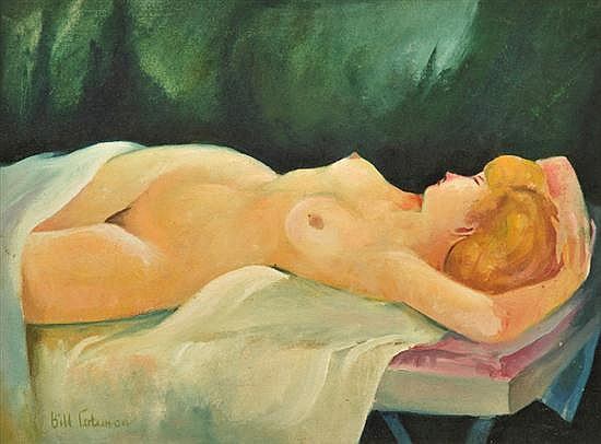 BILL COLEMAN (1922-1993) Reclining Nude oil on canvas on board