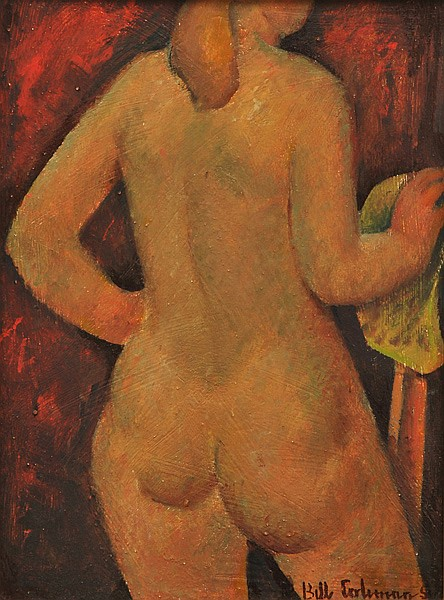 BILL COLEMAN (1922-1993) Standing Nude circa 1950 oil on board
