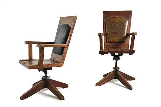 WALTER BURLEY GRIFFIN (1876-1937)A PAIR OF NEWMAN COLLEGE DESK CHAIRS, 1916