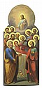 RUSSIAN SCHOOL (19TH CENTURY) The Dormition of Mary attended by Eleven Apostles, surmounted with an image of Christ holding the spir...