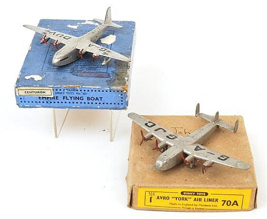 TWO BOXED DINKY PLANES INCLUDING 70A AVRO 'YORK' AIR LINER, REGISTRATION G - AGJC, PEN NAME TO BOX LID; AND 60R CENTURION EMPIRE FLY.