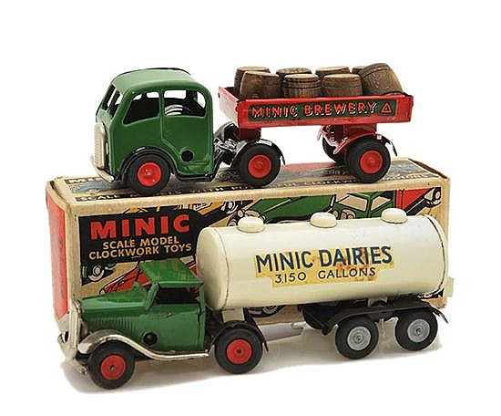 TRIANG MINIC 72M MECHANICAL HORSE AND BREWERY TRAILER, REPAINTED; AND 71M MECHANICAL HORSE AND MILK TANKER, ONE KEY MISSING, IN ILLU...