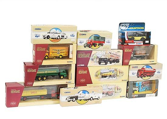 COLLECTION OF CORGI CLASSICS MODELS INCLUDING PULIC SERVICE JAGUAR MKII/MINI DURHAM POLICE; POLICE SET, LONDON BRICK COMPANY; AND ES...