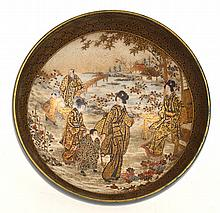 IMPRESSIVE JAPANESE SATSUMA BOWL WITH INTERNAL GEISHA SCENE WITH RAISED GILDING, SLIGHT RUBBING AROUND LIP,  SIGNED KINKOZAN, 5CM HIGH, 13CM DIA