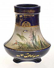 JAPANESE SATSUMA FOOTED VASE  DECORATED WITH BIRDS IN NATURE SETTING, SOME EXTERNAL GILDING RUBBED, SIGNED KINKOZAN, 15CM TALL