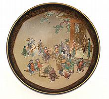 JAPANESE SATSUMA BOWL DEPICTING CEREMONIAL SCENE IN GARDEN SETTING, SIGNED KINKOZAN, 12.5CM DIA
