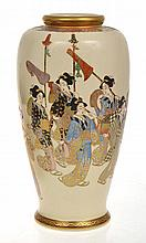 IMPRESSIVE JAPANESE SATSUMA VASE DECORATED WITH GEISHA PROCESSION, UNSIGNED,  24.5CM HIGH
