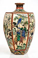 JAPANESE SATSUMA HEXAGONAL BOTTLE VASE DECORATED WITH ENAMELLED TRADITIONAL CHINESE PANELS, GILDING RUBBED TO LIP, C1900, UNSIGNED 39.5CM HIGH