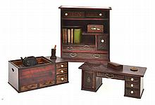 THREE JAPANESE MEIJI CHINESE DOLLS HOUSE FURNITURE PIECES AND ACCESSORIES