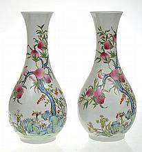 A PAIR OF CHINESE ENAMELLED PORCELAIN BALUSTER PEACH DECORATED VASES, 36.5CM HIGH