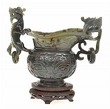 CHINESE CARVED STONE CENSER WITH CHILONG LOOP HANDLES, HOUSED ON WOODEN BASE, 13.5CM TALL