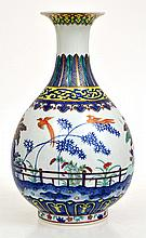 CHINESE PORCELAIN DOUCAI BOTTLE VASE WITH PHOENIX SCENE, SEAL MARK TO BASE, 31CM HIGH