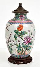 CHINESE PORCELAIN ENAMELLED FAMILLE ROSE VASE, CONVERTED TO LAMP BASE, 31 MC HIGH