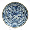 CHINESE BLUE AND WHITE PLATE, UNDERGLAZED DECORATION, 28.5CM DIAMETER