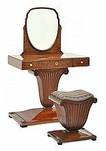 AN ART DECO MAHOGANY AND AMBOYNA DRESSING TABLE AND LATER STOOL