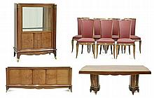 A FINE AND RARE FRENCH PARQUETRY AND MOTHER OF PEARL INLAID DINING SUITE