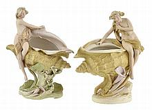 A PAIR OF ROYAL DUX PORCELAIN FIGURAL VASES