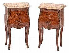 A PAIR OF LOUIS XV STYLE MARQUETRY INLAID BEDSIDE CABINETS