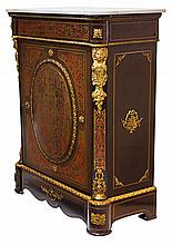 A NAPOLEON III STYLE CUT BRASS INLAID EBONISED SIDE CABINET
