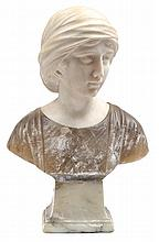 A 19TH CENTURY ITALIAN CARRARA AND COLOURED MARBLE BUST OF A FEMALE