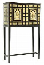 AN ITALIAN RENAISSANCE STYLE EBONISED AND INLAID TWO DOOR CABINET ON STAND