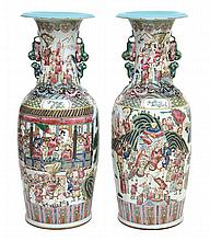 A PAIR OF LARGE ENAMELLED FAMILLE ROSE CHINESE EXPORT WARE FLOOR VASES