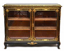 A GOOD QUALITY FRENCH CUT BRASS INLAID EBONISED SIDE CABINET