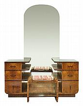 AN ART DECO MIRROR BACK DRESSING TABLE AND STOOL