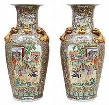A LARGE PAIR OF CHINESE CANTON FAMILLE ROSE FLOOR VASES