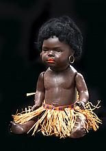 A HEUBACH KOPPELSDORF 399/100.00, SOUTH SEA ISLAND BLACK BABY BISQUE HEAD DOLL