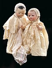 A GROUP OF TWO AM ELLAR BISQUE HEAD BABY DOLLS