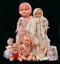 A COLLECTION OF NINE CELLULOID DOLLS